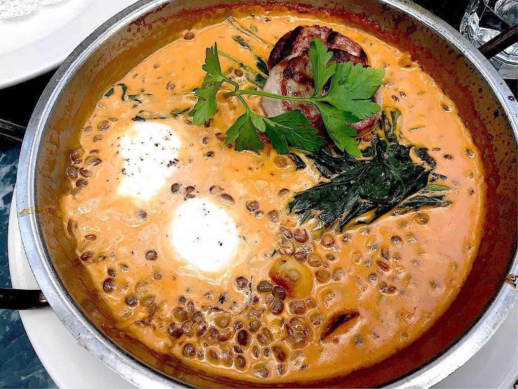 Baked Egg (lentils, sausage poached egg)