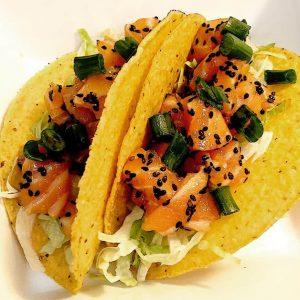Salmon Sashimi Tacos