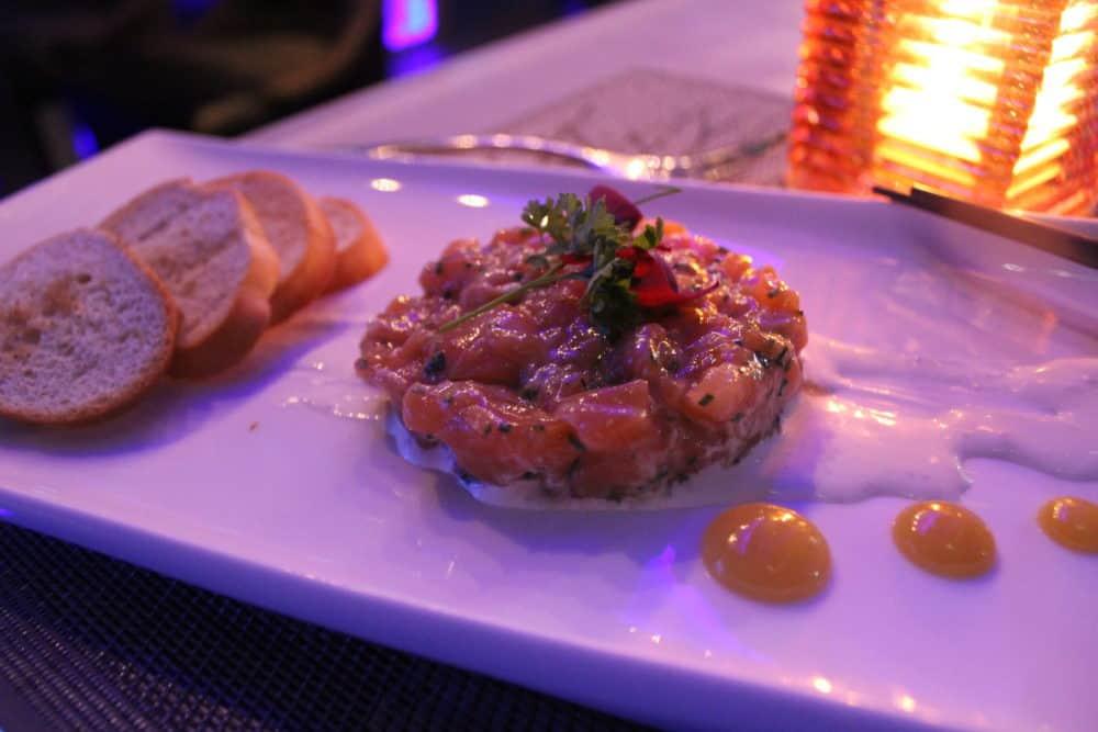 Tuna Tartare- Yuzu wasabi sauce, katsuo mirin, guacamole, seaweed paste, aonori aioli, creme fraiche, rice pearl. Toasted bread