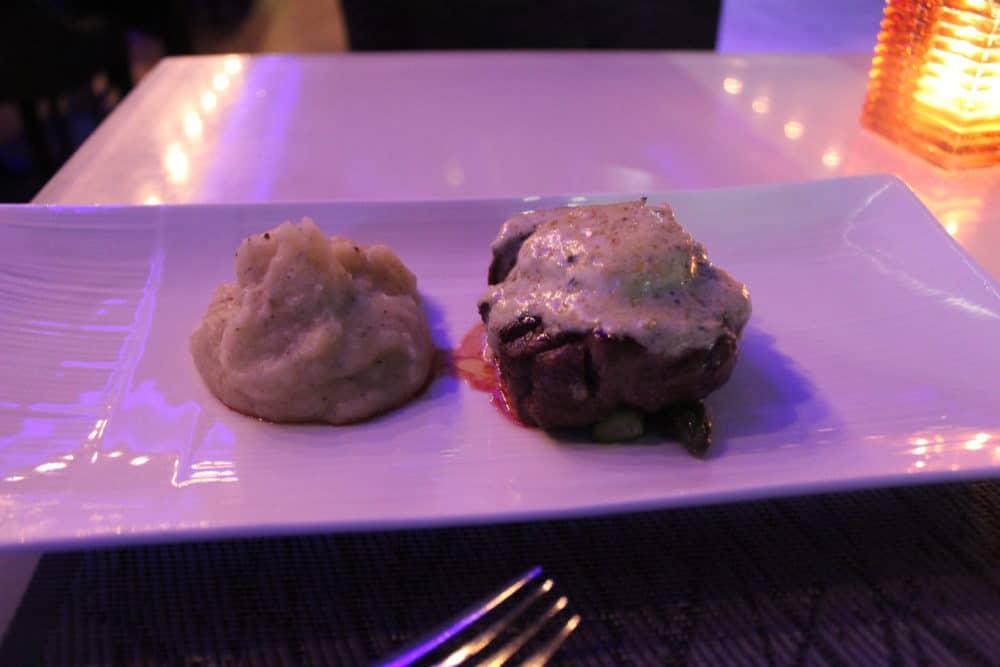 Petit Filet Mignon Truffle wasabi butter, asparagus, truffled mashed potato