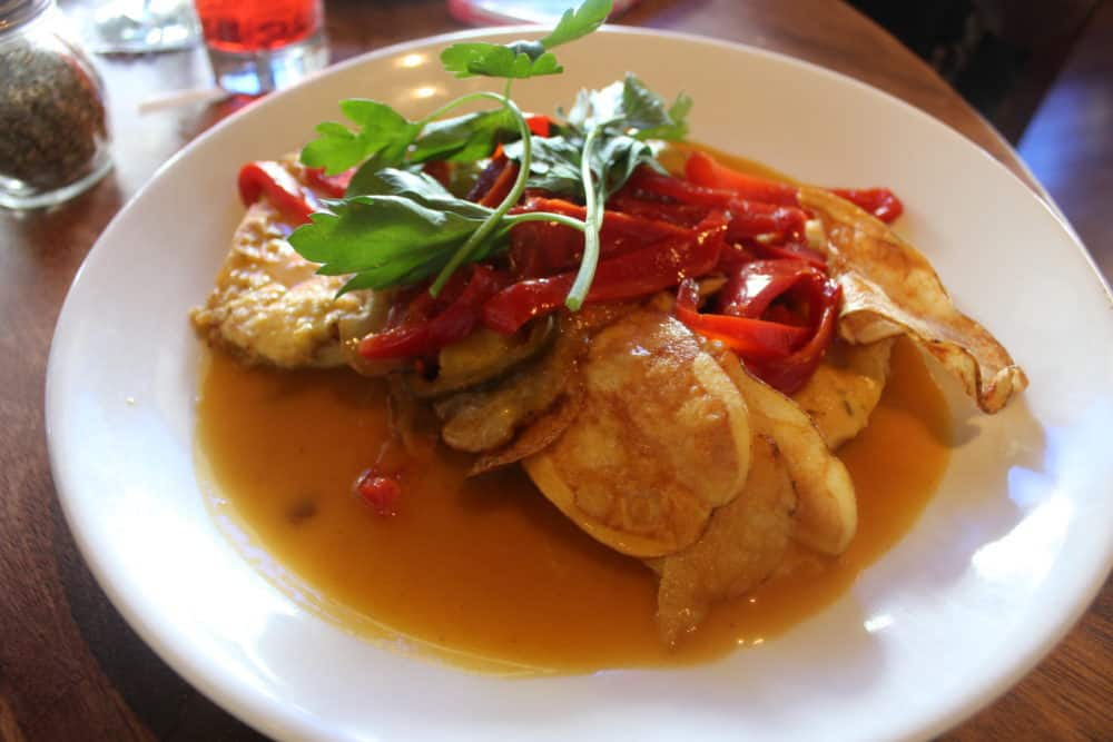 Chicken with sweet cherry peppers & potatoes in a white wine sauce