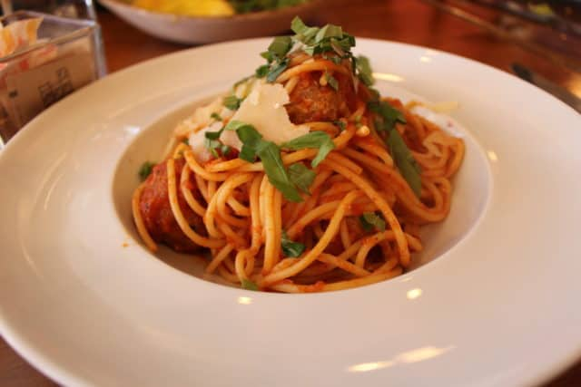 spaghetti with veal meatballs at lido